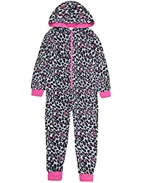 ONEZEE Kids Girls Leopard Print Animal Jumpsuit - Sleepsuit Pyjamas With Hood