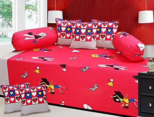 Fresh From Loom 8 Piece 300 TC Cotton Diwan Set - Red