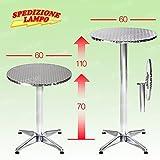 Gstore Tavolo Alluminio di QUALITA', per Ristorante, Bar, Giardino, diam. 60x h70/110