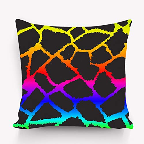 zexuandiy Kissenbezüge Cushion Case - Throw Pillow Case Decor Cushion Covers Square with Hidden Zipper Closure - 18x18 inches, Twin-Sided Print Rainbow Giraffe Skin Positive