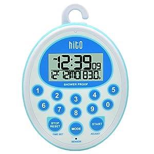 HITO Wasserdichte Duschuhr mit Wecker, Datum, Innentemperatur für Badezimmer, Küche, Küche, Kinderzimmer, Pool, Sauna blau