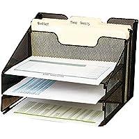 VANRA Plateau trieur de documents de bureau en maille Organisateur Bureau d'organiser en métal avec 3 plateaux Lettre et vertical horizontal 2 sections (Noir)