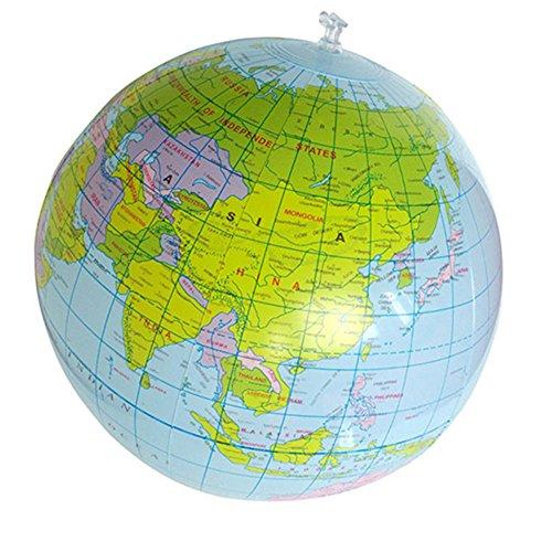Sukisuki Aufblasbarer Globus für Kinder, 40 cm, zum Lernen, Geographie, Spielzeug, Weltkarte, Ballon, Strand-Ball, Geschenk (Bälle Strand Aufblasbare)