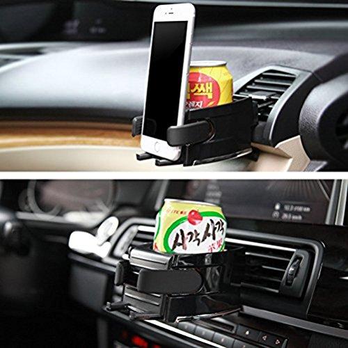 VORCOOL Getränkehalter Handyhalterung Multifunktion Auto Becherhalter Lüftungshalterung Air Vent Mount (Schwarz)