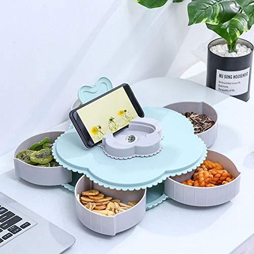 Lucky-all star Innovative Petal Rotating Candy Box - Aperitif-Serviertablett Getrocknete Fruchtmelonen-Samen-Blumen-Frucht-Platte, Haushaltsnuss-Süßigkeits-Snack-Platte mit Fach, für Wohnzimmerküche