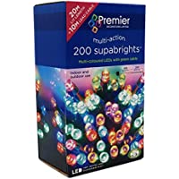 Premier Multi-Coloured 200 LED Christmas Lights Supabrights