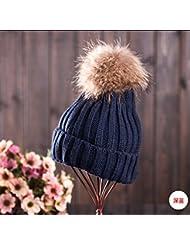 Qiaoba- Chapeau en tricot à la pure couleur à l'hiver