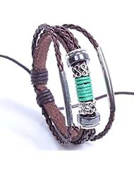 &ZHOU pulseras,pulsera tejida a mano del cuero, pulsera de cuentas, PU pulsera serpentina de cuero, joyería, pulsera creativa, regalos creativos