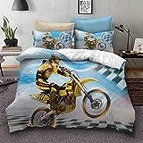 Ropa de cama 3D Motocicleta Fuera del camino Acrobacia Actuación Locomotora Digital Impresión Funda nórdica y Funda de almohada Juegos de cama Chico (Motocicleta 3, 180 cm x 220 cm - Cama 90 /105)