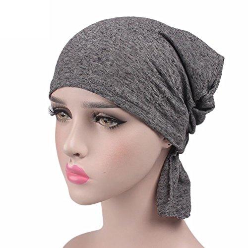 HugeDE Damen Kopfbedeckung Bandana Chemo Hut Mütze Turban für Krebs Haarverlust Haarausfall Dunkel Grau
