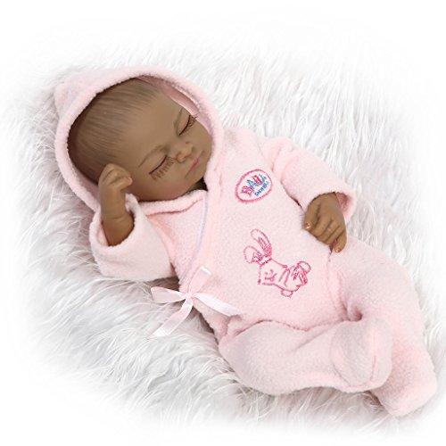 Nicery Réincarné bébé Poupée Doux Simulation Silicone Vinyle Indien Peau noire 10pouces 26cm Imperméable Garçon Fille Baigner Jouet Pink Girl