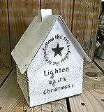 Kerzenhaus Windlicht Stern weiß Shabby mit Spruch