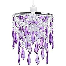MiniSun - Elegante pantalla de lámpara de estilo candelabro, con cascada de ornamentos transparentes y morados