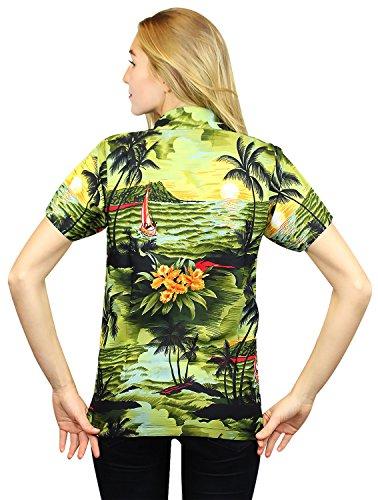 Original King Kameha | Funky Hawaiibluse | Damen | XS - 6XL | Kurzarm | Front-Tasche | Hawaii-Print | Surf Meer Strand | Dunkelgrün Dunkelgrün