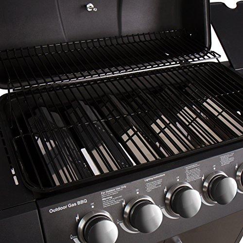 51PM6oCvluL - CCLIFE Gasgrill Gas Grill Grillwagen BBQ 3/4/5/6 Hauptbrenner mit Seitenkocher Gas-Grill Tüv Geprüft, Farbe:Schwarz, Größe:6+1 Brenner mit Zubehör