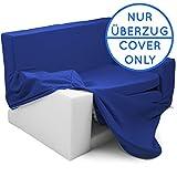 Wechselbezug für 2 in 1 Kindersofa mit Bettfunktion in Saphirblau - Weich & Sicher Auffalt Matratze für Kinder von 1 - 4 - TV Kindercouch Sessel Schaumstoff Stuhl Möbel Ausziehbett zum Schlafen