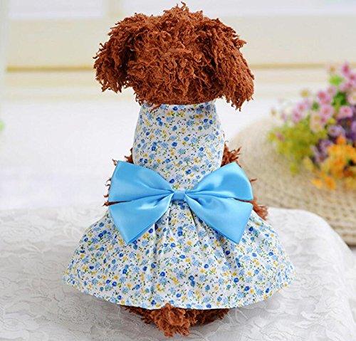 Xinjiener Hundepullover Katzen-Hundekleidungs-Land-Art-Blumenkleid-Haustier-Kleidung blau (Land Katze Kostüm)