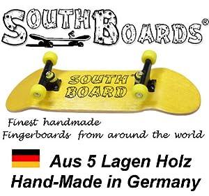 Dedo completo Skateboard amarillo/SWZ GE sur Boards® Hecho a mano madera de palisandro madera real de SOUTHBOARDS Deutschland