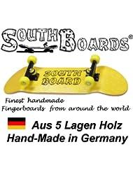 Monopatín fingerboard amarillo/SWZ GE South Boards®, hecho a mano en auténtica madera