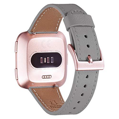 WFEAGL für Fitbit Versa Armband, Top Grain Lederband Ersatzband mit Edelstahl-Verschluss für Fitbit Versa/Fitbit Versa 2 /Versa Lite/Versa SE Fitness(Grau+ Roségold Schnalle)