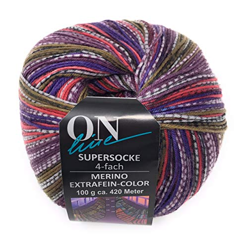 ONline Wolle Supersocke 100 Merino EXTRAFEIN Color, Sort.258,100 Gr. Knäuel, 4-fädige Sockenwolle, (Fb. 2292) -
