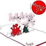 JICHUIO Kirschblüten-Grußkarten 3D-Pop-Up-Karten-Geschenk für Valentinstag