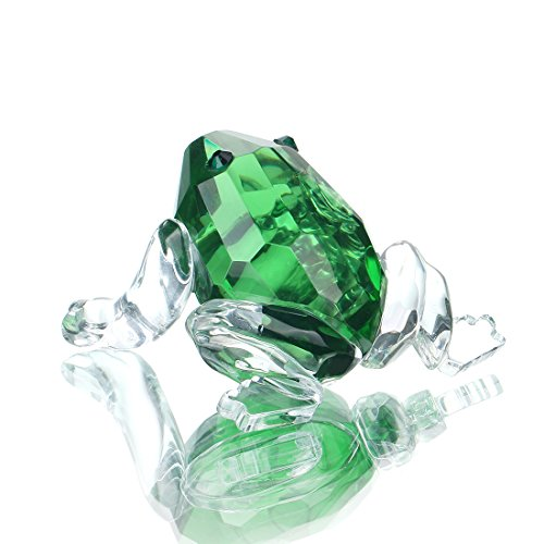 H&D Mini Kristall Frosch Skulptur Figur Sammlung Briefbeschwerer Tafelaufsatz Ornament Gläser Sammlung