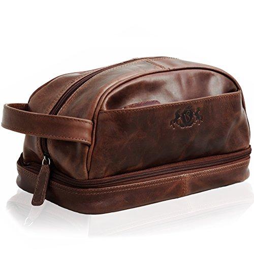 Leder Tasche Beutel (SID & VAIN Kulturtasche echt Leder Alex groß Kulturbeutel Necessaire Lederbeutel Herren braun)