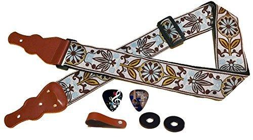 Colgador de guitarra vintage con 2 púas, cierres para correas y botón – Correa para bajo, guitarra eléctrica y acústica – Práctica correa para guitarra, ideal como regalo para guitarristas