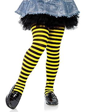 Leg Avenue leotardos a rayas negro amarillo tamaño Maproximadamente 128 a 140