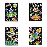 TrifyCore Etiqueta Engomada del Mosaico Arte Sticky DIY Hecho a Mano Kits de Arte para Niños Puzzle Etiqueta Educativo Juguete-OVNI, Extranjero, Astronauta, Patrón de Nave Espacial (1set) HN0006A - 6D