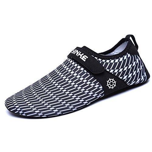 Strandschuhe Badeschuhe Aquaschuhe Schwimmschuhe Rutschfeste Atmungsaktiv Leicht Barfuß Schuhe mit Klettverschluss für Damen Herren, Weiß 38