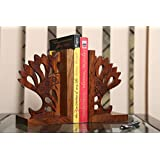 Craftbell Modern Crown Engraved Bookend In Sheesham Wood - Book Organizer, Book Racks, Table Top, Book End Stand Holder, Bookshelf for Decorative / Office / Desk Accessories / Home Decor And Gift Item / Christmas Gift / New Year Gift / Birthday Gift