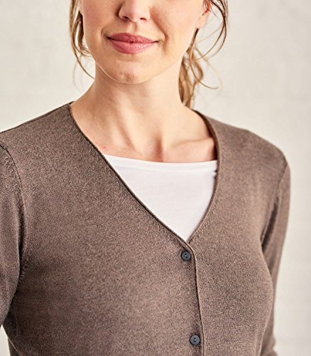 WoolOvers Cardigan douceur à col V - Femme - Soie & Coton Brown Marl