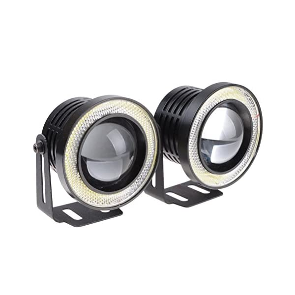 Aorna High Power Led Fog Light Projector Cob with Angel Eye Ring for Cars (Set of 2)