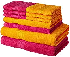 Solimo 100% Cotton 10 Piece Towel Set, 500 GSM (Paradise Pink and Sunshine Yellow)
