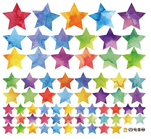 WandSticker4U- Wandtattoo 62 Sterne zum Kleben | Wandaufkleber Kinder Aquarell bunt Sternenhimmel Deko Wandsticker metallic | Babyzimmer Kinderzimmer Mädchen Junge Schlafzimmer Möbel Wohnaccessoires