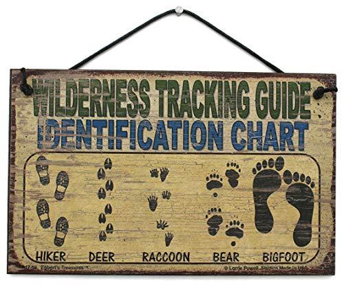5x 8Schild Vintage Style Sagen,Wilderness Tracking Guide Identifizierung Diagramm Hiker, REH, Waschbär, Bär, Bigfoot Dekorative Fun Universal Haushalts-Zeichen von Egbert 's Treasures Angeln Karte Diagramm