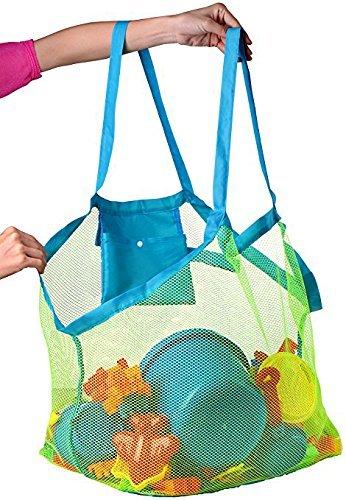 Bolsa de playa de malla grande: bolsa de playa, ideal para juguetes de playa, bolsa de juguetes, bolsa de natación, bolsa de arena para llevar tu toalla de playa y todo tu equipo de playa