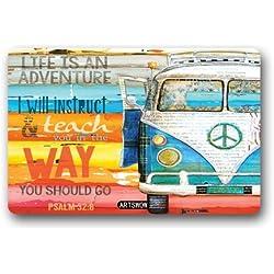 Artswow decorativo Funny Doormats Hippie Van alfombrilla Felpudo piso alfombra para interiores/exteriores/puerta delantera/baño alfombrillas alfombras para el hogar/oficina/dormitorio de neopreno de goma antideslizantes Felpudo lavable a máquina (23,6x 15,7), color-6, 23.6X15.7