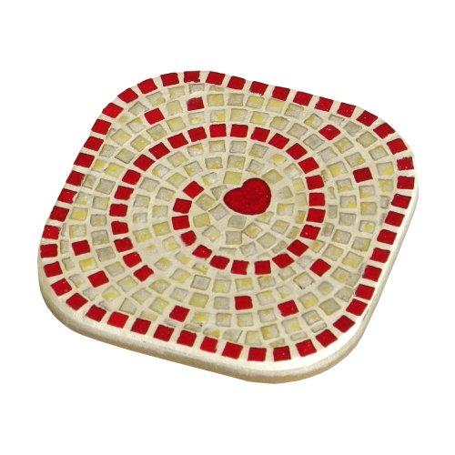 ALEA Mosaic Kit de mosaique, 10X10cm, 2 dessous de tasse Blanc perlé - Rouge