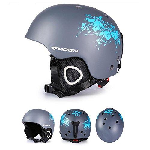 Ultimate leichter Ski Helm Größe M/L, Snowboard Helm für Herren Damen mit abnehmbaren Ohrenschützer to Regulate Body tempareture, damen Herren, grau, M