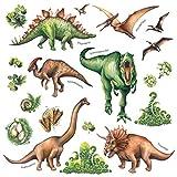 DECOWALL DS-8034 Aquarelle Dinosaure Autocollants Muraux Stickers Muraux Chambre Enfants Bébé Garderie Salon (Ver anglais) (Petit)