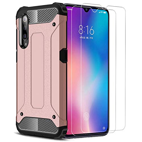 XIFAN Xiaomi Mi 9 SE Funda, protección contra Golpes de TPU + PC Resistente a arañazos (Doble Capa), Funda Carcasa para Xiaomi Mi 9 SE, Oro Rosa + 2 Piezas Protector de Pantalla