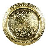 Casa Moro Marokkanisches Serviertablett rund Karam Ø 30 cm aus Messing | Orientalisches Teetablett Farbe Gold | Echtes Kunsthandwerk aus Marrakesch | Tablett für kreative Dekoration Ideen
