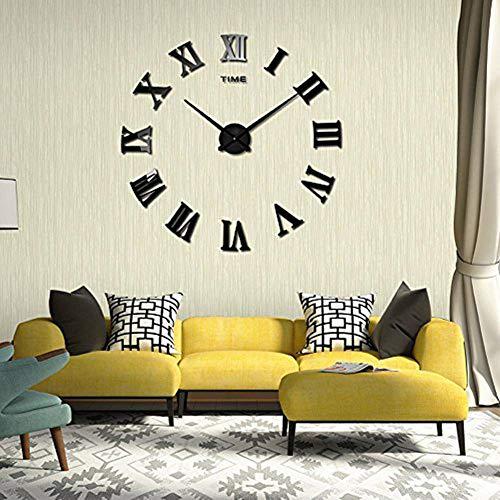 DIY 3D Wanduhren Modern Design Acryl Wanduhren Wandtattoo Dekoration fürs Wohnzimmer Kinderzimmer (Römische Nummer Schwarz)