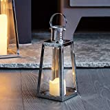 Lights4fun Silberne Edelstahl LED Laterne LED Kerze 21cm Timer