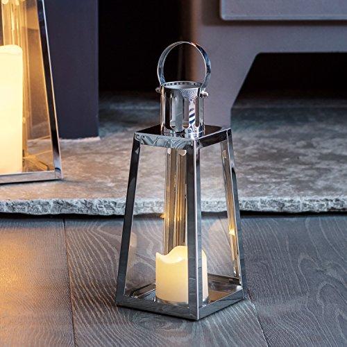 Silberne Edelstahl LED Laterne LED Kerze 21cm Timer Lights4fun