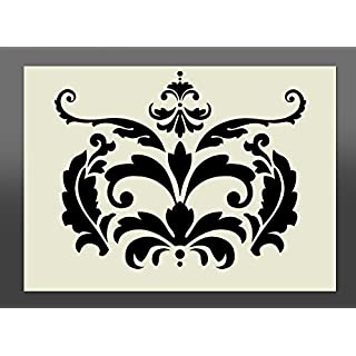 Apex Laser Ltd Shabby Chic Damask Design - Airbrushing, Wall Art, Stencil Design, Embossing (A2 Layout (594mm x 420mm/23inch x 17inch))