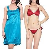 Klamotten Satin Women Sexy Nightwear and Bikini Set Combo 11M-62 Image